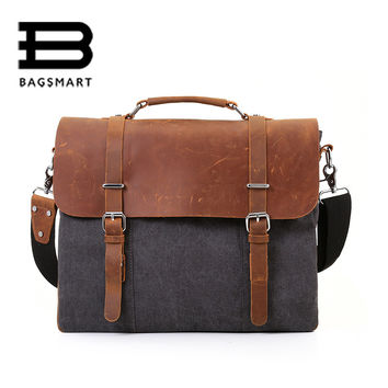 BAGSMART Canvas Document Men's Messenger Bags Men Travel Bag Leather Briefcases Vintage Crossbody Satchel Fit 15.6'' Laptop Bag