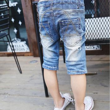 2017 new boys girls Five jeans short summer Fashion cotton Washed white pants baby toddler Children's clothing kids clothes