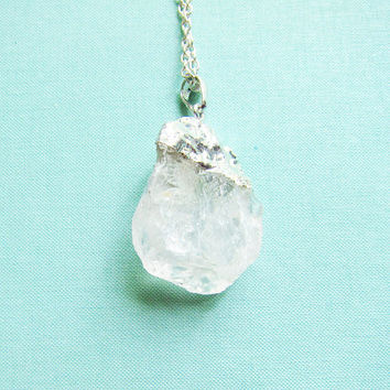 Quartz Necklace Long Layered Crystal Geode Raw Mineral Stone Pendant Gemstone Natural Earthy Rustic Sterling Silver Chain Clear Rock
