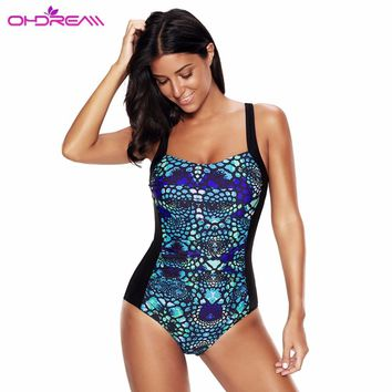 OHDREAM One Piece Swimsuit Plus Size Women Bodysuit 2018 New Swimwear Vintage Print Beach Wear Sexy Brazilian Bathing Suit -G