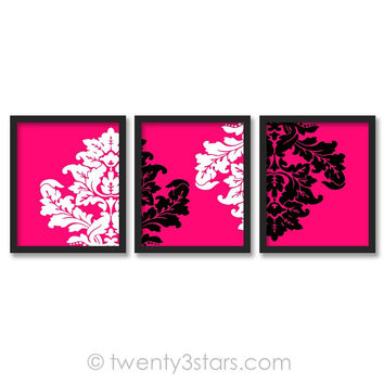 Damask Wall Art Trio - Choose Any Colors - twenty3stars