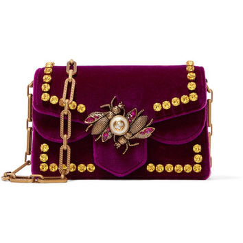 Gucci - Broadway embellished velvet shoulder bag