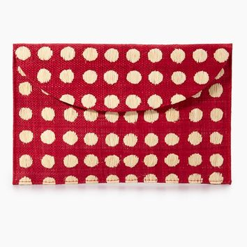 Tulum Polka Dot Clutch - Red/White Polka Dots