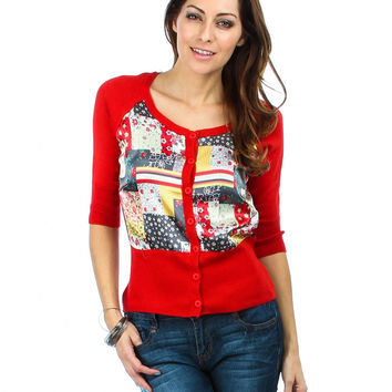 FLYING TOMATO RED SATIN QUILTED BUTTON-UP CARDIGAN
