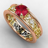 Ruby engagement ring, white sapphire, rose gold, white gold, yellow gold, filigree engagement, pink, lace ring, wedding ring, two tone