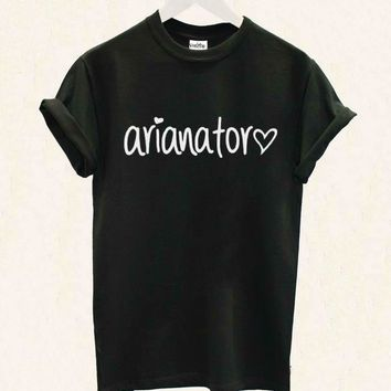 Arianator Letters Print Women T shirt Casual Cotton Hipster Shirt For Lady Funny Top Tee Black Gray White B-18