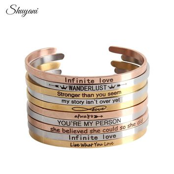 Stainless Steel Customize Positive Inspirational Bracelet Quote Cuff Engraved Bracelet & Bangle for Women Best Gifts Bangle