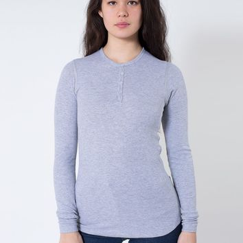 t457w - Unisex Baby Thermal Long Sleeve Henley