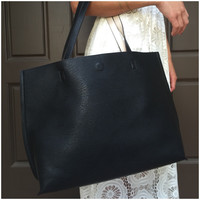 Two in One Large Reversible Bag - Black & Ivory