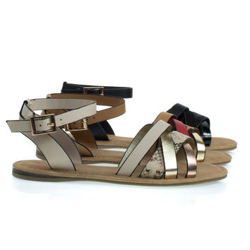 Bliss99 By Bamboo, Flat Sandal w Snake & Leopard Printed Combo Straps & Ankle Strap