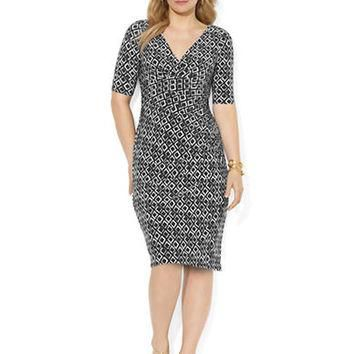 Lauren Ralph Lauren Plus Printed Matte Jersey Empire Dress