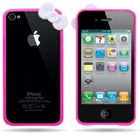 WIRELESS CENTRAL Brand Hard HOT PINK BUMPER Case with WHITE BOW Design Frame Cover for APPLE IPHONE 4 / 4S [WCP797]