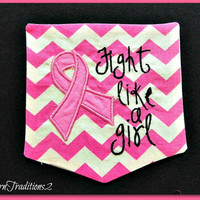 Breast Cancer Awareness Fight Like a Girl Chevron Pocket Tee 56 tshirt colors to choose from Short Sleeved