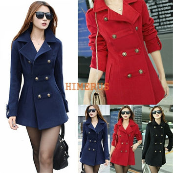 New Fashion Winter Long Winter Coat Outerwear Double Breasted Women Coat Wool Blends Overcoat = 1956257988