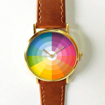 Color Wheel Watch Watches for Women Men Leather Ladies Jewelry Accessories Gift Ideas Spring Fashion Personalized Unique Vintage Chart Cute