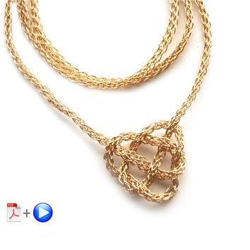 Wire Crochet Necklace - Celtic Heart Knot Necklace, a wire crochet Video and PDF tutorial by Yoola