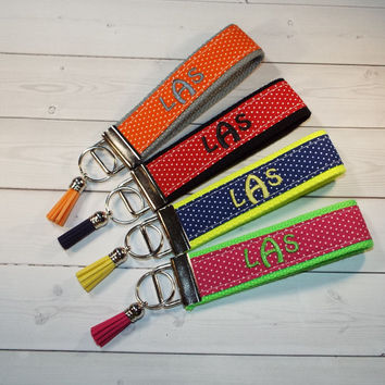 Key FOB / KeyChain / Wristlet  - 3 initial monogram on your choice of pin swiss dots preppy with tassel  custom design your own personalize