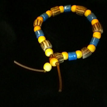 Sand and Sky, Vintage Turquoise and Striped Poloma Grey Pottery Beaded Bracelet with Sand Accent Beads