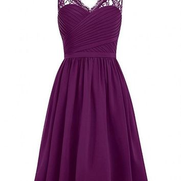 Cheap Grape V-neck Short Bridesmaid Dresses Lace Shoulder Sleeveless Chiffon Wedding Party Dresses robe demoiselle d'honneur