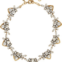 J.Crew - Jewel Arrow gold-plated, crystal and cubic zirconia necklace