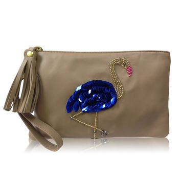 Leather Clutch Flamingo Neutral