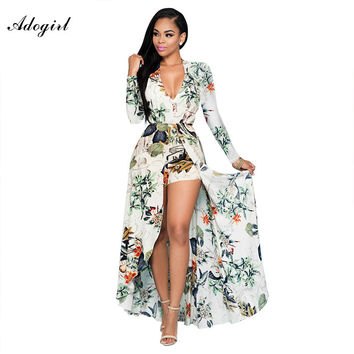 Women Long Sleeve Floral Printed Jumpsuits Sexy V-neck Short Pant Long Jumpsuits Autumn Plus Size Rompers Party Overalls