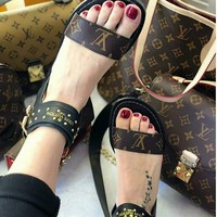 LV Louis Vuitton Women Sandal High Top LV One word with flat bottom high boots Sandals Coffee Color Slippers