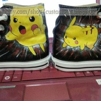 ONETOW pokemon shoes pokemon anime Converse pokemon hand painted shoes