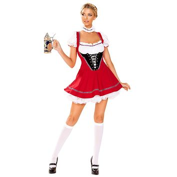 Sexy Oktoberfest Beer Wench Red Lace-Up Outfit