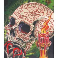 Skull & Candle Art Print by 2 Cents