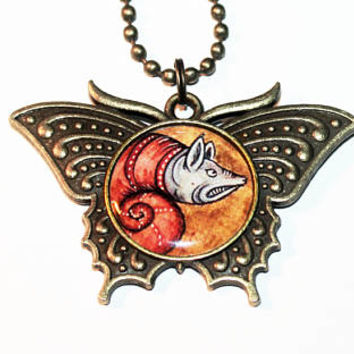 Angry Snail Necklace, Medieval Bestiary, Mythology Jewelry, Illuminated Manuscripts, Mythical Creature, Oddities, Bronze Butterfly Pendant