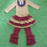 Preorder #008 Madison Kate 3pc Fall Outfit, Girls Clothing, Persnickety Remake, Triple Ruffle Leggings, Ruffle Skirt, Ruffle Bib Boutique Top