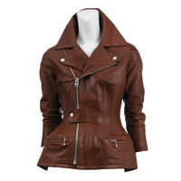 Comme des Garcons Brown Leather Motorcycle Jacket