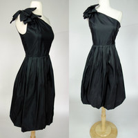 1980s black prom dress, one shoulder bubble fit and flare rhinestone bow formal event dress, steppin out, XS size 4