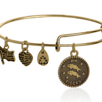 Alex and Ani style 12 constellation Bracelet,Pisces pendant charm bracelet