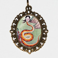 Nuwa Snake Goddess Necklace, Chinese Mythology Jewelry, Oval Pendant