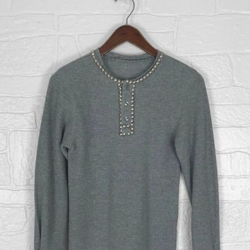 She Lied Studded Waffle Knit Thermal Shirt