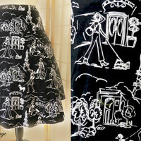 1980's Novelty Print Skirt, Full Circle Skirt, Ladies Walking Dogs & Eiffel Tower Print Skirt, Size 8