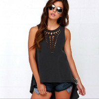 Casual Sleeveless Cut Out Front Asymmetrical Shirt