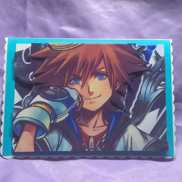 Sora from kingdom hearts birthday card in 3d,a name,age or family member can be added if you ask me when you order the card