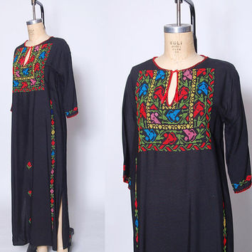 Vintage 70s EMBROIDERED Caftan Black BEDOUIN Dress Hippie Maxi Dress Boho Caftan Dress FOLK Kaftan