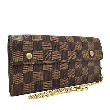 Auth Louis Vuitton Damier Porte Monnaie Accordion Bifold Long Wallet / gDH