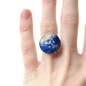 Planet earth Ring Glass Dome - globe ring glass - photo jewelry - planet jewelry - Adjustable ring