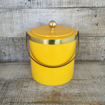 Ice Bucket Mid Century Ice Bucket with Brass Accents Retro Yellow Ice Bucket Ice Cooler Retro Yellow Barware Bar Cart 1980s Barware