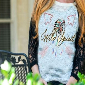 Wild Spirit Native American Chief & Arrows Burnout Shirt  with  Lace Sleeves