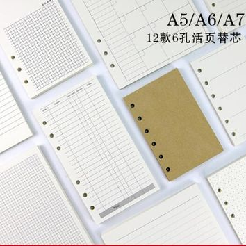 45 sheets A7 A6 A5 Pure color simple 6 hole loose-leaf notepad for core inner Hand account Planner refills school office supply
