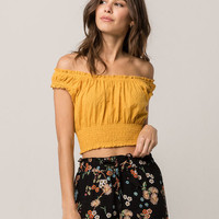 SKY AND SPARROW Floral Eyelet Womens Peasant Top