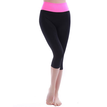Ladies Mosaic Gym Capri Slim Yoga Pants Sportswear [6572622215]