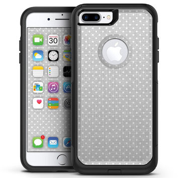 White Micro Polka Dots Over Gray Fabric - iPhone 7 or 7 Plus Commuter Case Skin Kit