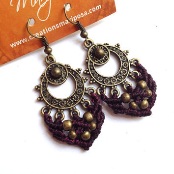 Hippie-chic prune handwoven earrings pendants boho bohemian macrame gypsy woodland tribal